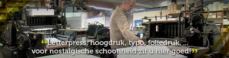 Letterpress - typo - typografie - blinddruk - boekdruk - hoogdruk - folie
